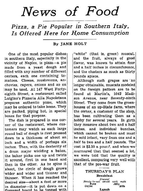 When The New York Times Discovered Pizza 1944 Wrd 104